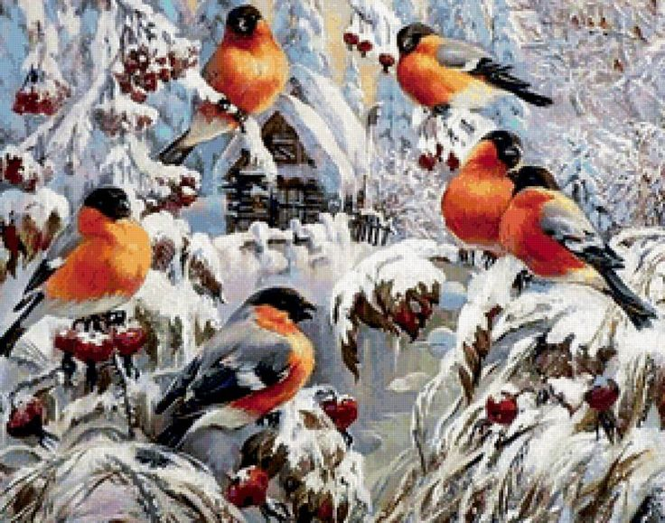 птицы снегири зимой раскраска (с изображениями) | Краска ...