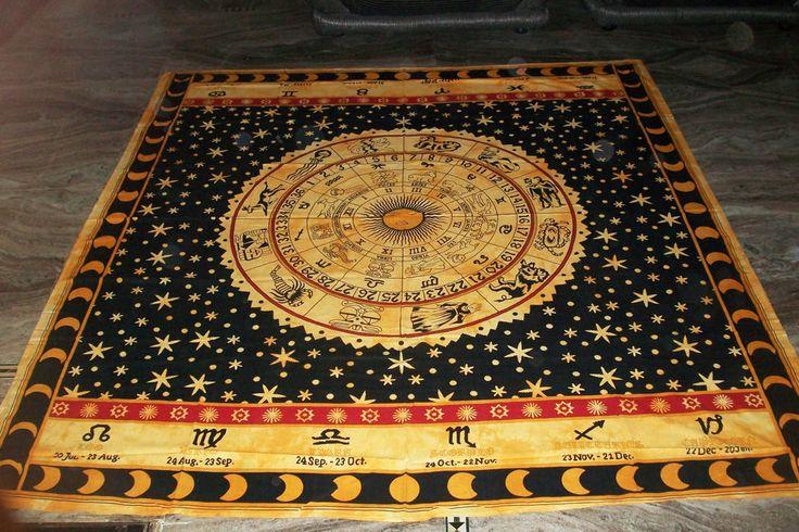 Zodiac Indian Throw Art Tapestry Wall Hanging Hippie Astrology Mandala Bedspread #Handmade #BedspreadTapestry