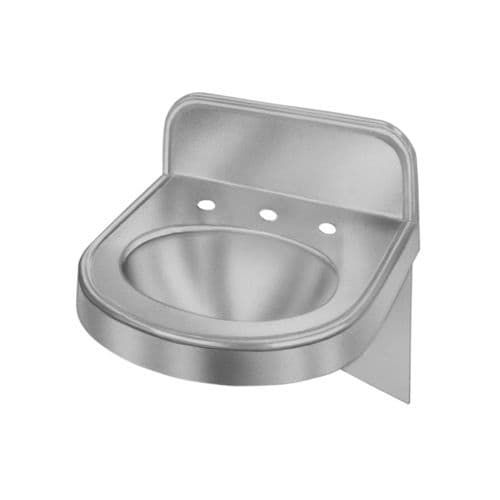 "Elkay ELV18173 Stainless Steel (Silver) 18 Wall Mount 18 Gauge Single Basin Bathroom Sink with 5-1/2"" Backsplash and 4"" Centers"