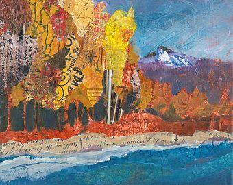 Lago de la montaña y árboles Original mezclan pintura de los medios de comunicación