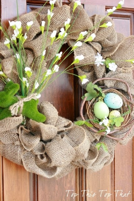 + Cute, Easy, DIY burlap wreath. Take the basket off & it'd be cute for fall/winter too, maybe even all year! Add some more colorful flowers for summer, or orange, burgandy for fall… I see inspiration for something amazing!!! :) @ Do It Yourself Remodeling Ideas