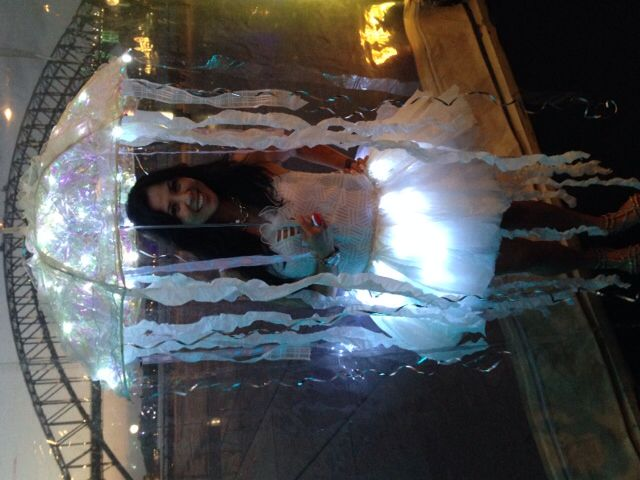 Jelly fish costume made from recycled plastic grocery bags, iridescent cellophane, battery operated white LED lights & a $10 parasol umbrella