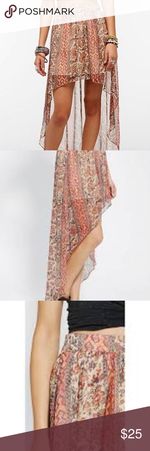 NWOT UO Ecote Hi Lo Tribal Maxi Skirt Hi lo  light weight  stretchy band in the back  very neutral colors Skirts High Low