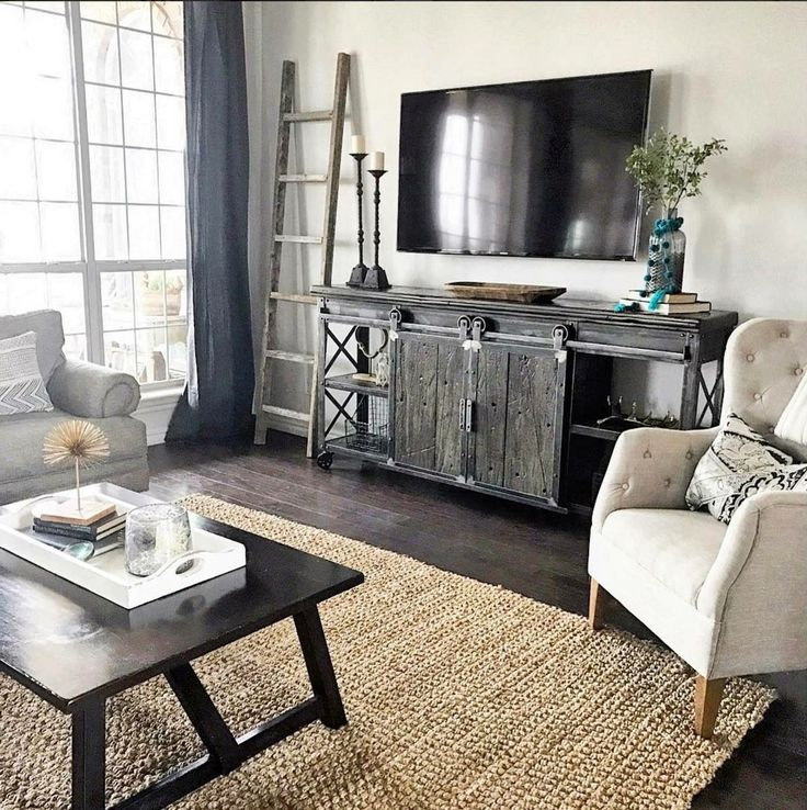 Pretty entertainment set up with white TV stand