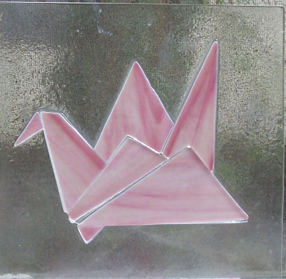 Stained Glass Window Origami Crane Fused by Suncatchercreations