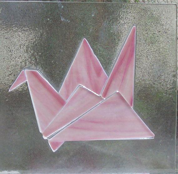 Stained Glass Window, Origami Crane, Fused Glass Panel, Peace Symbol, Flying Bird, Blue Glass, Asian Art, Home Decor, Suncatcher