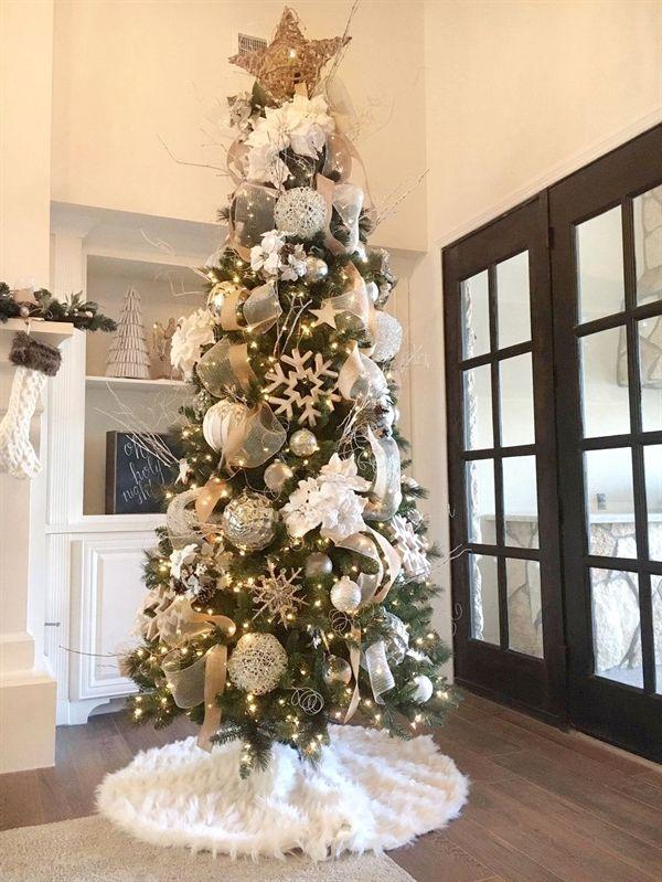 White Feather Tree Skirt Christmastreeideas Baum Rocke Weihnachtlich Dekorieren Weihnachtsbaum