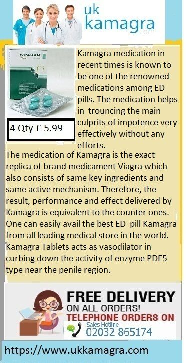 Kamagra medication in recent times is known to be one of the renowned medications among ED pills. The medication helps in   trouncing the main culprits of impotence very effectively without any efforts. The medication of Kamagra is the exact   replica of brand medicament Viagra which also consists of same key ingredients and same active mechanism. Therefore, the   result, performance and effect delivered by Kamagra is equivalent to the counter ones.