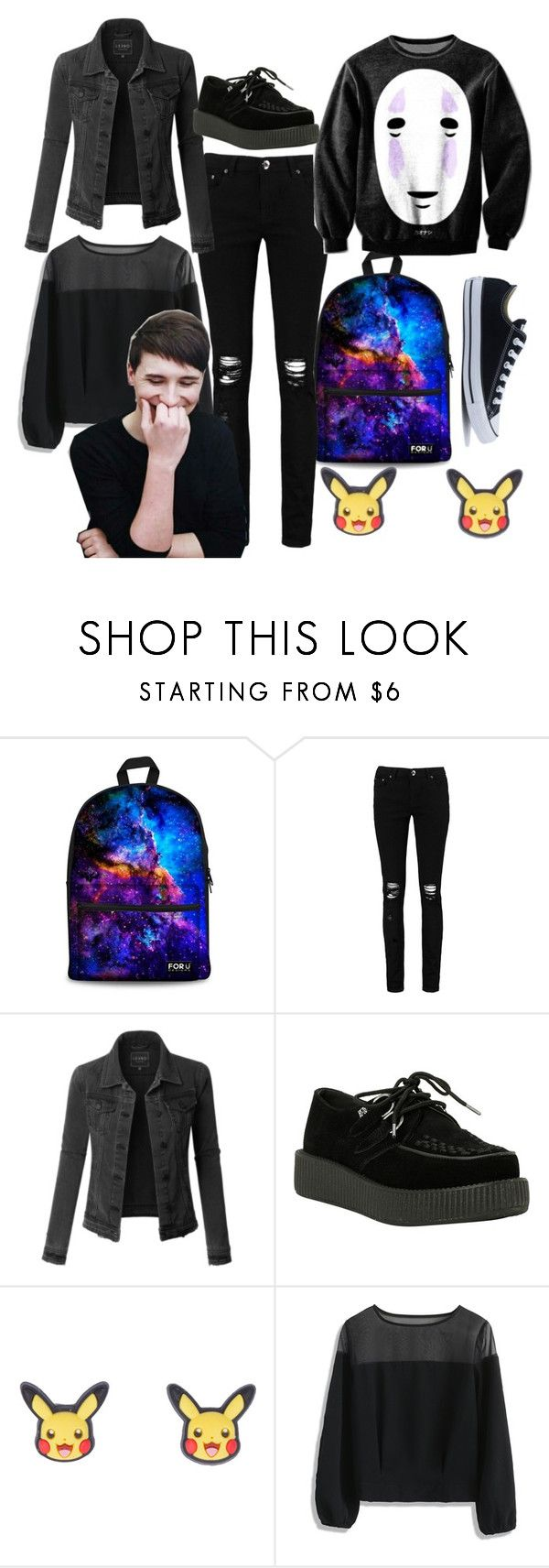 """""""Dan Howell"""" by paffen-amber ❤ liked on Polyvore featuring Boohoo, LE3NO, T.U.K., Nintendo, Chicwish and Converse"""