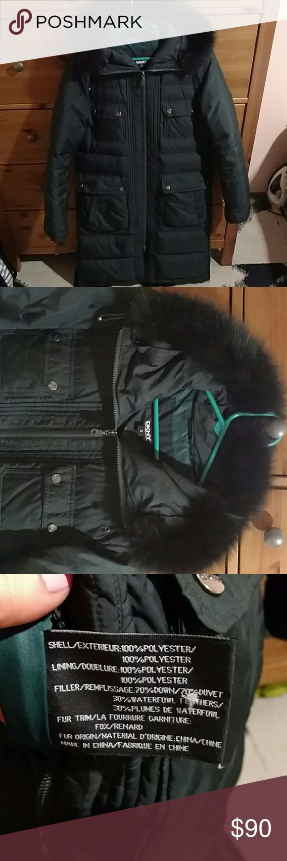 DKNY dark green down Fox trimmed long parka, small Gently used - send me an offer! DKNY Jackets & Coats Puffers