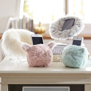 Cozy Lux Faux Fur Mini Animal Phone Holders #pbteen