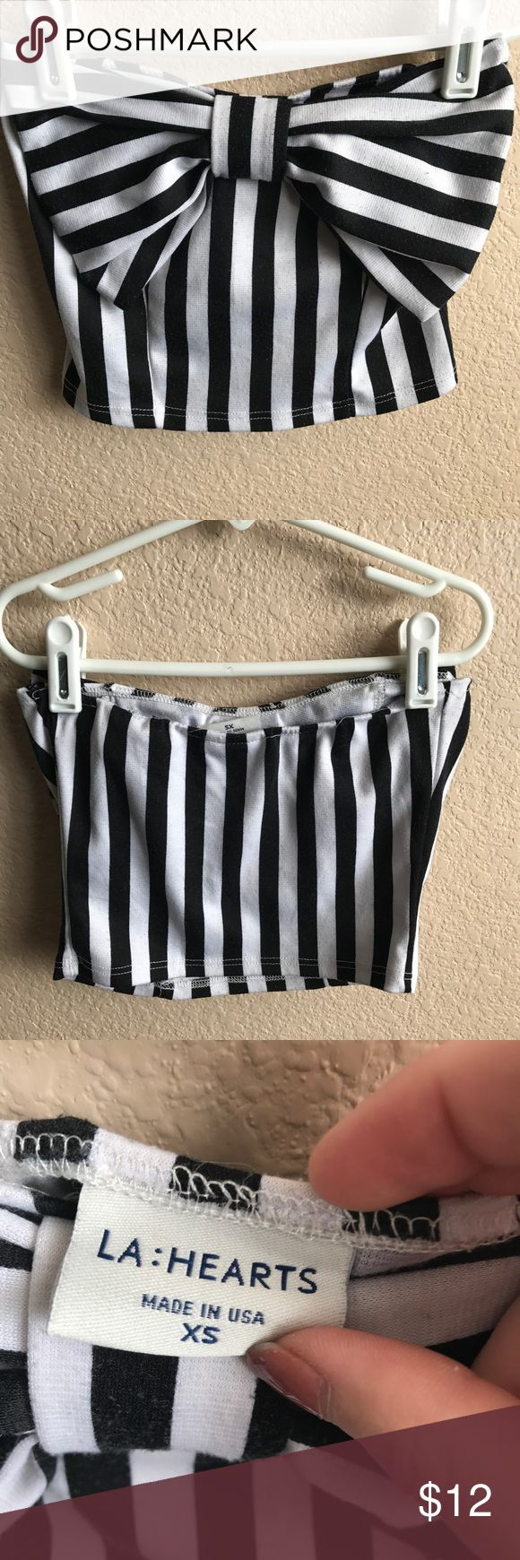 NWOT PacSun Stripe Bow Crop Top Size XS bow striped crop top from PacSun *Will be re-washed to remove wrinkles* PacSun Tops Crop Tops