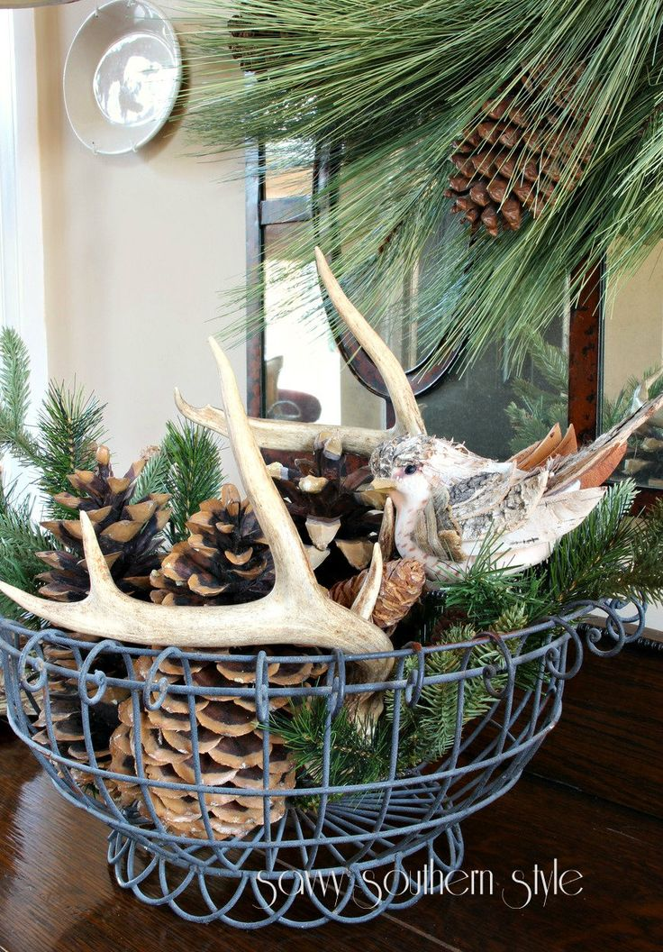 Antler, greenery in a wire basket for a Winter display.