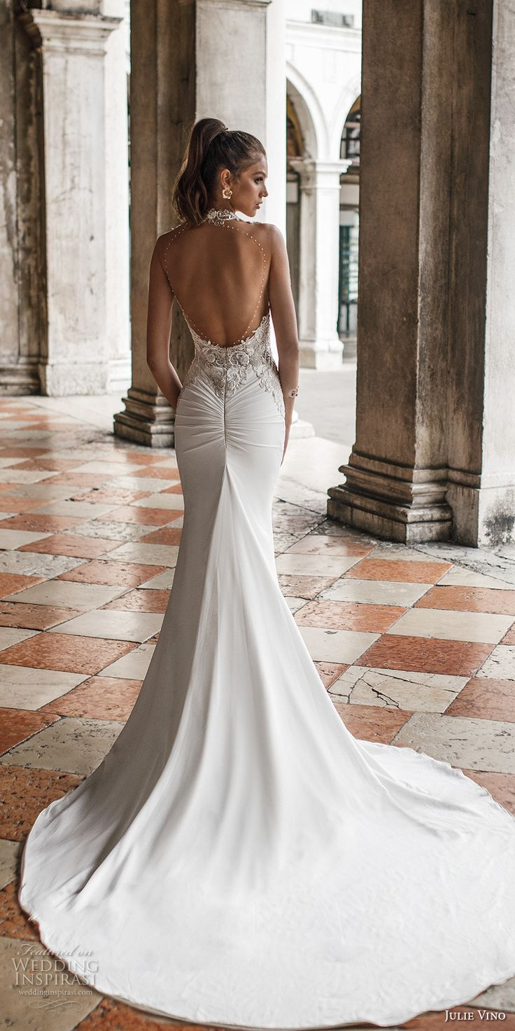 julie vino spring 2018 bridal sleeveless halter sweetheart neckline heavily embellished bodice elegant glamorous fit and flare wedding dress open scoop back chapel train (15) bv -- Julie Vino Spring 2018 Wedding Dresses