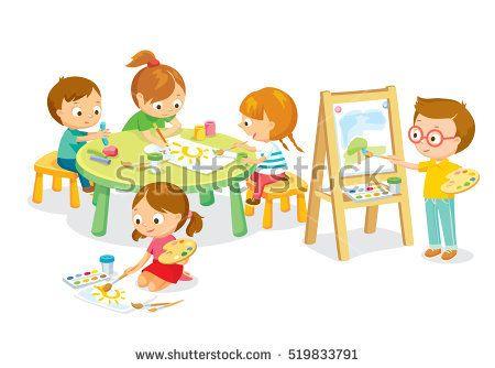 Children drawing in art class