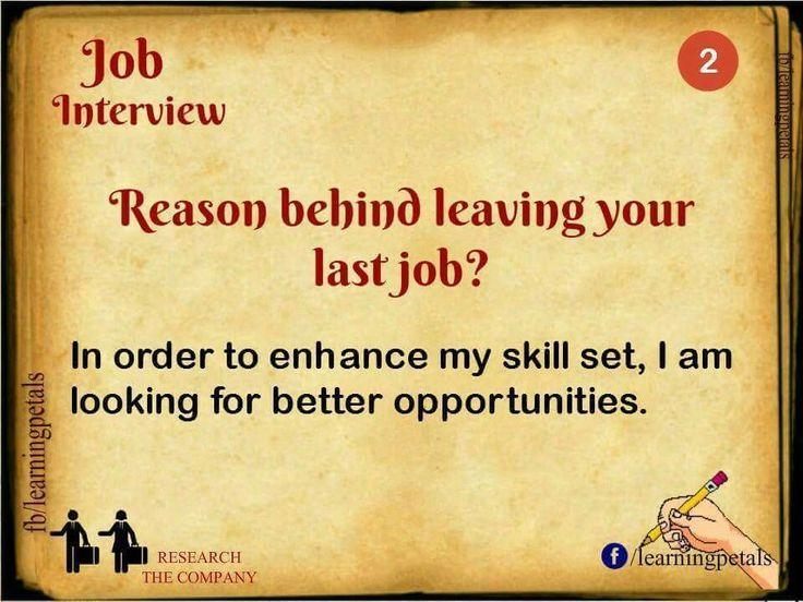 Reason Behind Leaving Your Last Job