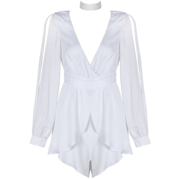 Honey couture alyssa white long sleeve choker playsuit ($159) ❤ liked on Polyvore featuring jumpsuits, rompers, playsuits, going out rompers, party rompers, playsuit romper, tie-dye rompers and sexy white romper