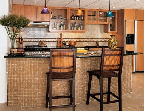 I Want To Do Glass Tile Under The Bar So It Is Easier To Wipe Down