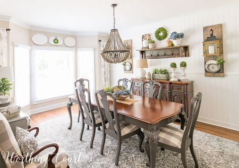 Farmhouse Dining Room Makeover Reveal - featuring a faux shiplap planked wall