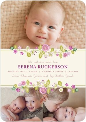 Add your newborn's darling older siblings in this delicate photo collage birth announcement.