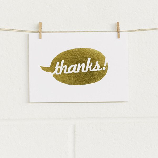'Say Thanks' Gold Foil on White, Thank You Cards, 10pk