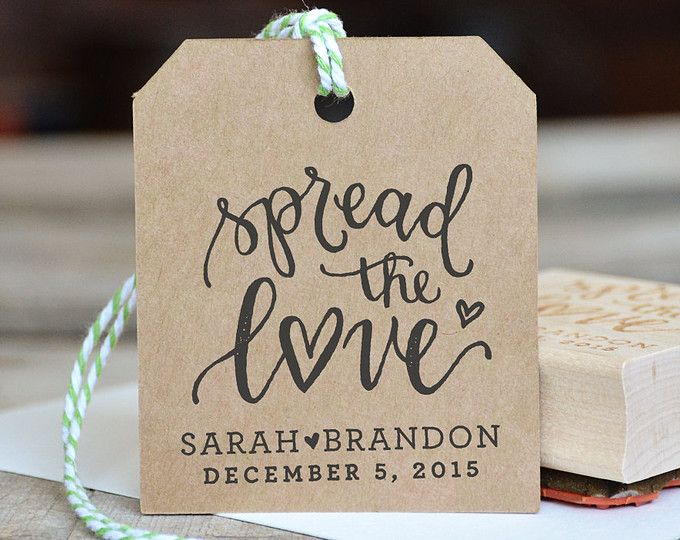 Spread the Love Rubber Stamp, With or Without Personalized Name, for Jam Wedding Favor Tags with Wedding Date
