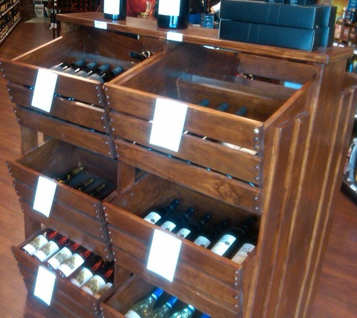 rustic wood crate display wine bottle liquor double sided