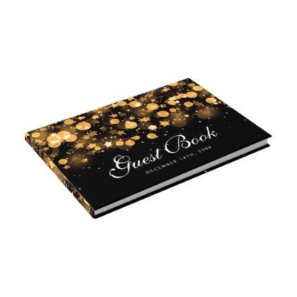 #Holiday Christmas Gold Sparkling Stars Guest Book - #winter #wedding #gifts #winterwedding