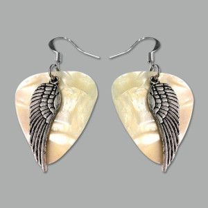 Silver feather guitar pick earrings to show off your whimsical music side with jewelry charm! $12
