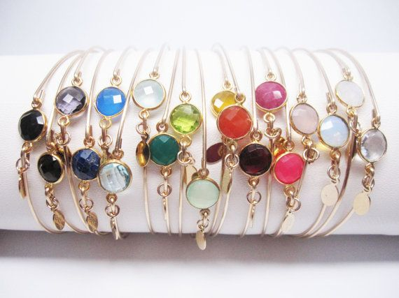 Pick 5 COLORS - Make your own stackable bangle set - 14K Gold Filled w/ 8mm bezel semi precious gemstone
