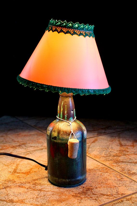 Table Handmade Lamp Bottle Reading Light Table by NeshaHandmade