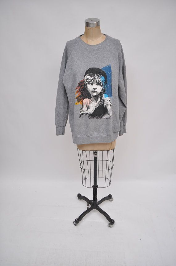 vintage sweatshirt LES MISERABLES super soft heather grey oversized boyfriend fit