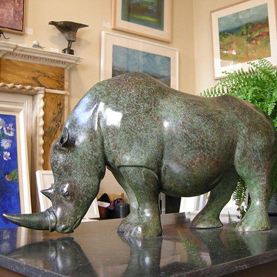 Vadim Tuzov bronze sculpture of a Rhinoceros