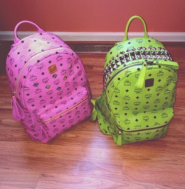 MCM  backpack #pink #green