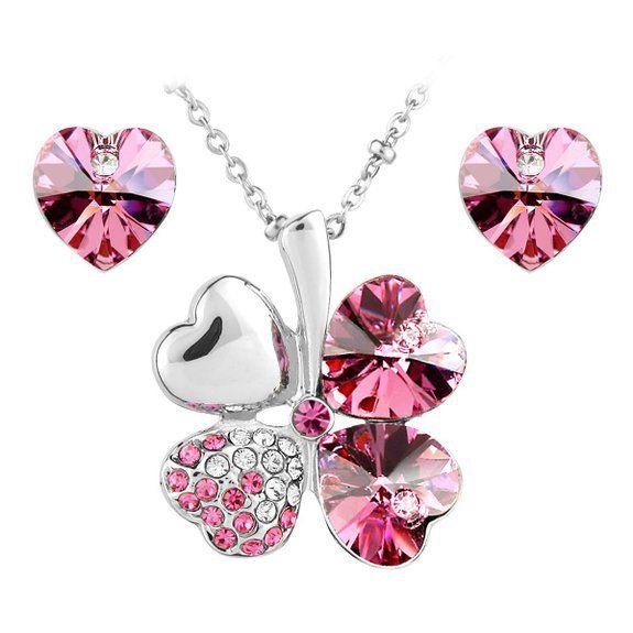 Le Premium® - Parure placcata oro bianco collana trifoglio e orecchini cuore coordinati, con cristalli Swarovski Elements Rosa