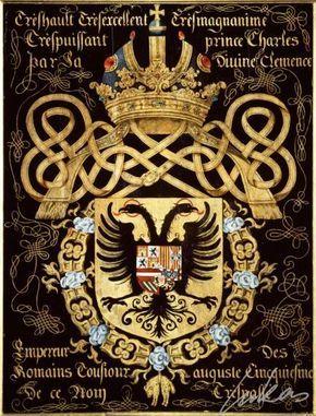 """(111) Charles archiduc d'AUTRICHE, duc de Bourgogne, futur CHARLES-QUINT (1500-1558) -- """"Trèshault, trèsexcellent, trèsmagnanime et trèspuissant prince Charles, par la Divine Clemence, empereur des Romains, tousiours auguste, cincquiesme de ce nom. Tréspassé"""" -- Armorial plate from the Order of the Golden Fleece, 1559, Saint Bavo Cathedral, Gent -- Panneau de trépassé. -- See also at: http://www.brooklynmuseum.org/opencollection/objects/4897/"""