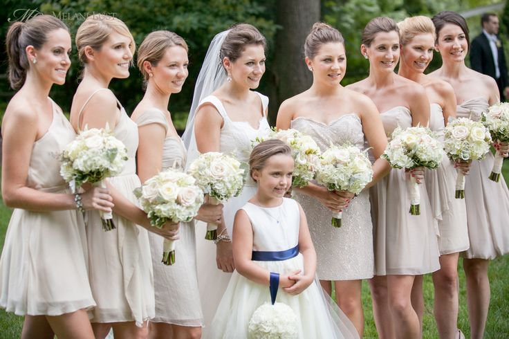 Nude beige short bridesmaid dresses each with their own for Beige short wedding dresses