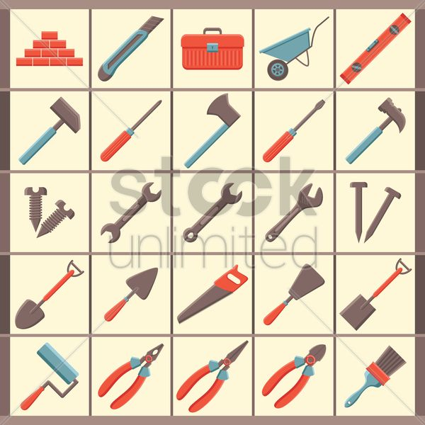 Free set of construction icons vector graphic