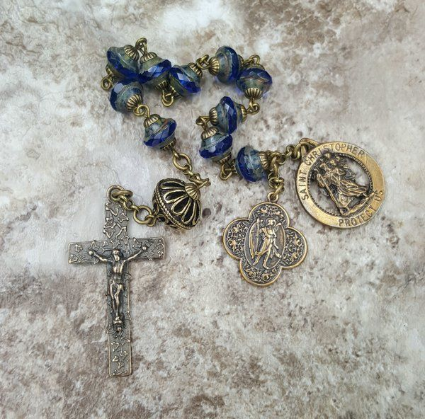 Travel and Sickness Protection  St Christopher St Raphael   Handcrafted Bronze Rosary Tenner