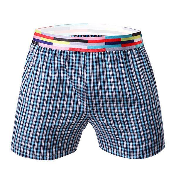 Casual Home Low Waist Sport Cotton Breathable Plaids Boxer Shorts for Men