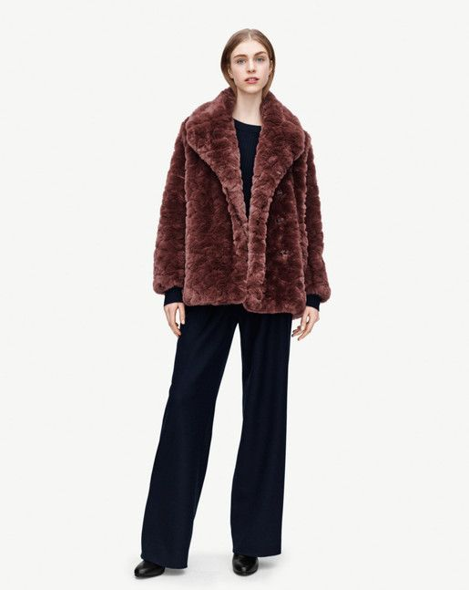 Becky Faux Fur Jacket styled with Sidney Slacks.