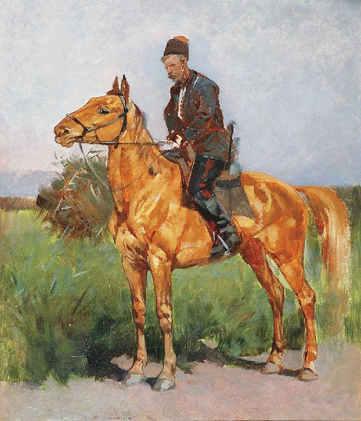 Józef CHEŁMOŃSKI (1849-1914)  Zaporożec - studium, ok. 1873 olej, płótno, 63 x 54 cm;
