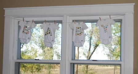 Cute idea for a baby shower decoration.