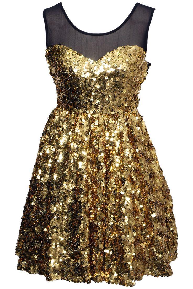 Gold sequin dress.