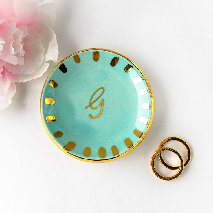 Gold Monogrammed Ring Dish with Starburst, Personalized Ring Dish - Ring Holder, Jewelry Holder, Ceramic Ring Dish, Engagement, Gift for Her by ModernMud on Etsy https://www.etsy.com/listing/483823276/gold-monogrammed-ring-dish-with