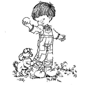 Little Boy With Ball Dog Sarah KeyAdult ColoringColoring BooksColoring
