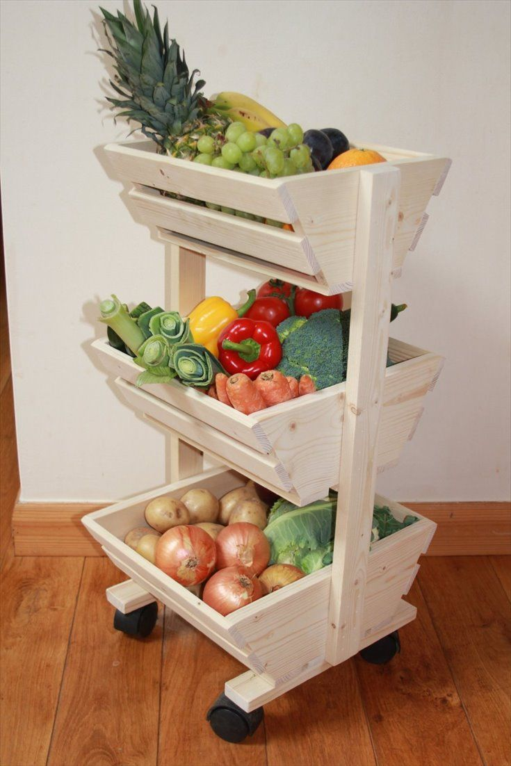 Pallet Vegetable Storage Rack | Pallet Furniture DIY More