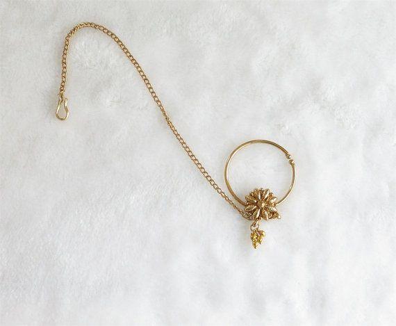 Gouden Brass neusring met ketting/Zuid-Indiase bruids neus Ring hoepel/niet doorboord gevoelige neus Ring/nep neus hoepel/Fashion Septum Helix hoepel /