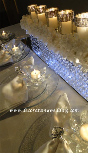 Table setting long candle centerpiece r each my
