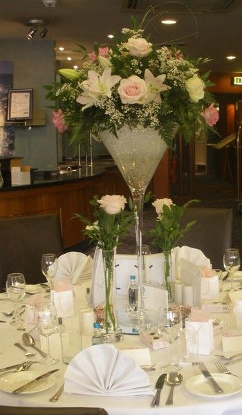http://BookerWeddings.co.uk - Martini Glass Arrangement Rose and Lily